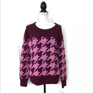 NEW WOMENS COTTON SWEATER HOUNDSTOOTH PULLOVER L